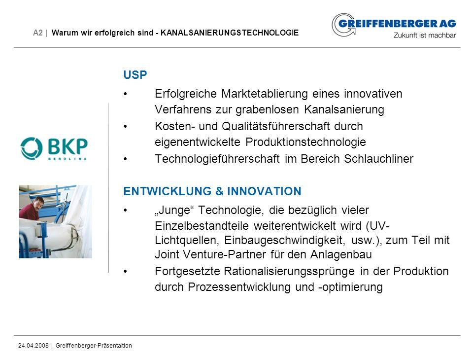 24.04.2008 | Greiffenberger-Präsentaition A2 | Warum wir erfolgreich sind - KANALSANIERUNGSTECHNOLOGIE USP Erfolgreiche Marktetablierung eines innovat