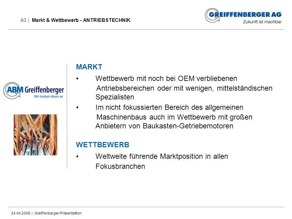 24.04.2008 | Greiffenberger-Präsentaition A3 | Markt & Wettbewerb - ANTRIEBSTECHNIK MARKT Wettbewerb mit noch bei OEM verbliebenen Antriebsbereichen o
