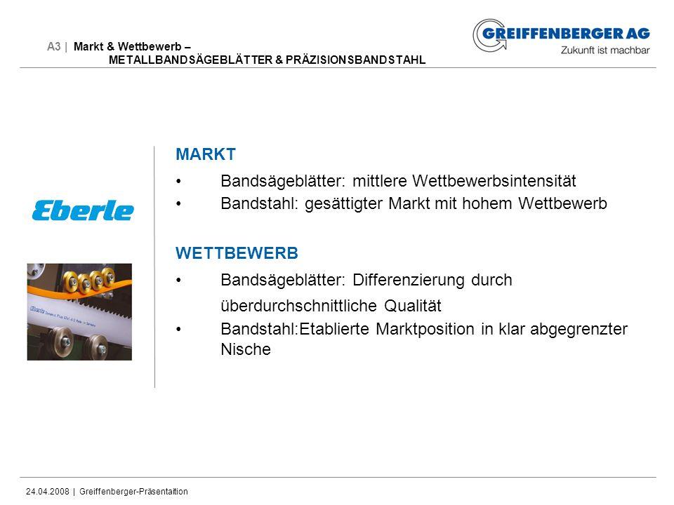 24.04.2008 | Greiffenberger-Präsentaition A3 | Markt & Wettbewerb – METALLBANDSÄGEBLÄTTER & PRÄZISIONSBANDSTAHL MARKT Bandsägeblätter: mittlere Wettbe