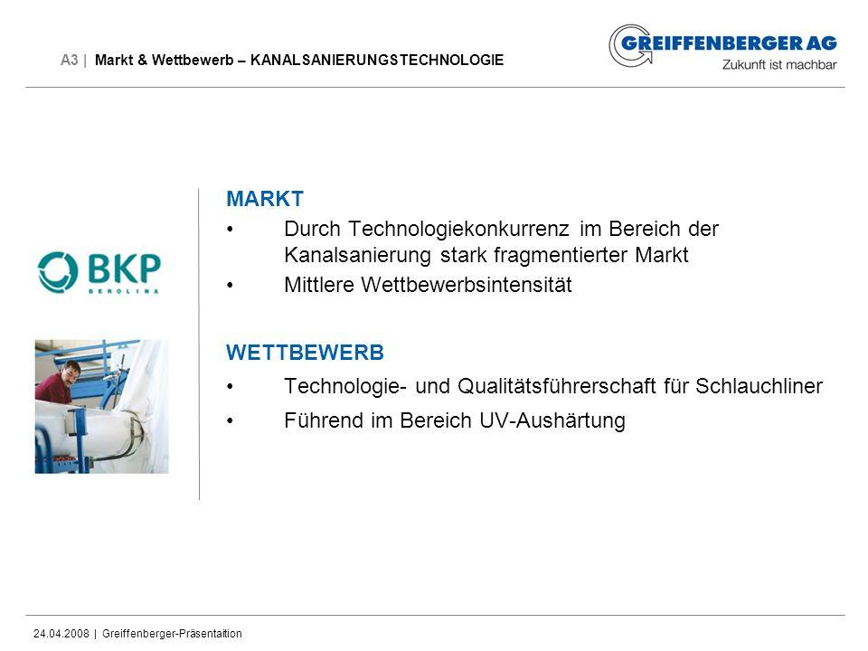 24.04.2008 | Greiffenberger-Präsentaition A3 | Markt & Wettbewerb – KANALSANIERUNGSTECHNOLOGIE MARKT Durch Technologiekonkurrenz im Bereich der Kanals