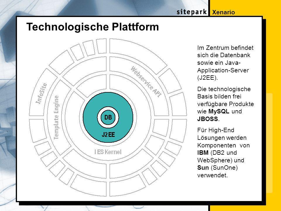 Xenario Technologische Plattform Im Zentrum befindet sich die Datenbank sowie ein Java- Application-Server (J2EE).