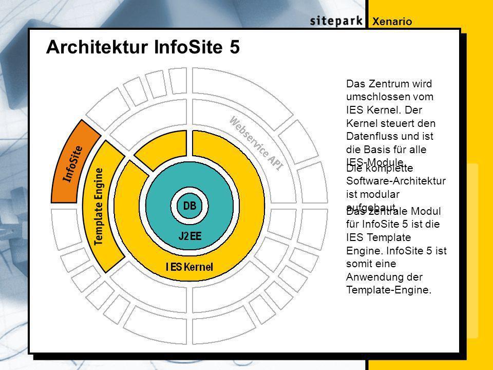 Xenario Architektur InfoSite 5 Das Zentrum wird umschlossen vom IES Kernel.