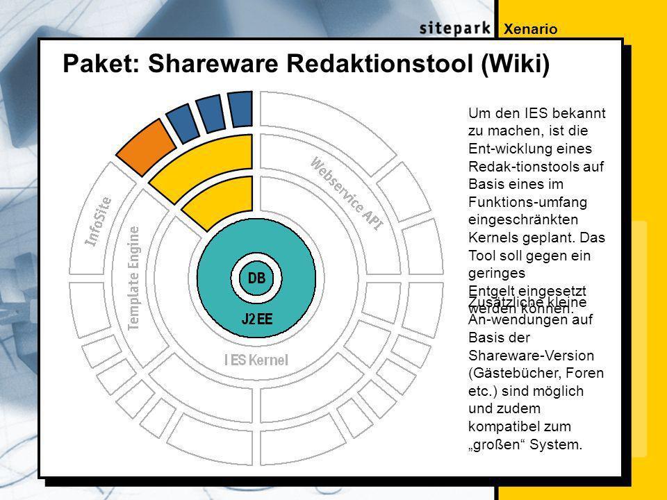 Xenario Paket: Shareware Redaktionstool (Wiki) Um den IES bekannt zu machen, ist die Ent-wicklung eines Redak-tionstools auf Basis eines im Funktions-umfang eingeschränkten Kernels geplant.