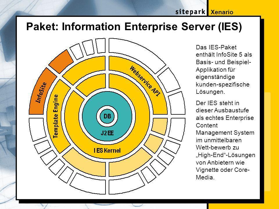 Xenario Paket: Information Enterprise Server (IES) Das IES-Paket enthält InfoSite 5 als Basis- und Beispiel- Applikation für eigenständige kunden-spezifische Lösungen.