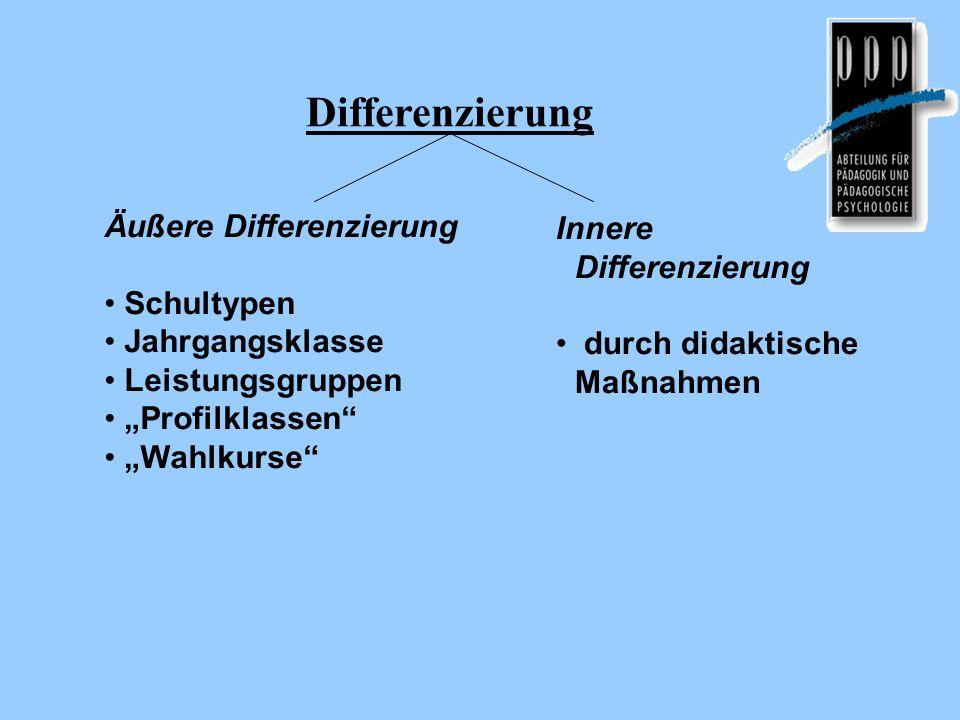 Differenzierung Äußere Differenzierung Schultypen Jahrgangsklasse Leistungsgruppen Profilklassen Wahlkurse Innere Differenzierung durch didaktische Ma