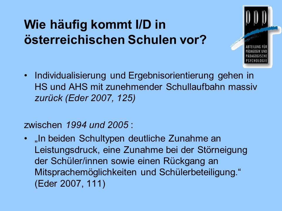Wie häufig kommt I/D in österreichischen Schulen vor? Individualisierung und Ergebnisorientierung gehen in HS und AHS mit zunehmender Schullaufbahn ma