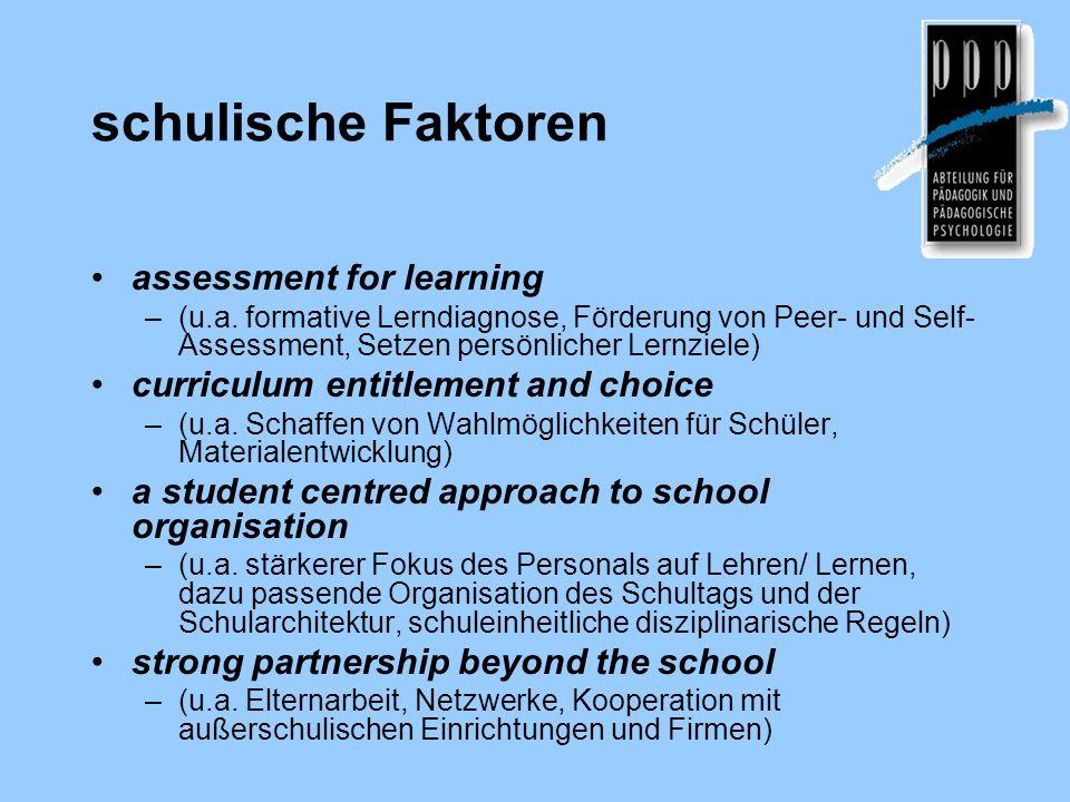 schulische Faktoren assessment for learning –(u.a. formative Lerndiagnose, Förderung von Peer- und Self- Assessment, Setzen persönlicher Lernziele) cu