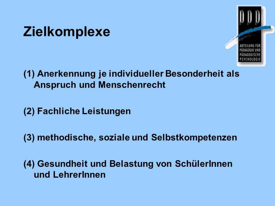 Zielkomplexe (1) Anerkennung je individueller Besonderheit als Anspruch und Menschenrecht (2) Fachliche Leistungen (3) methodische, soziale und Selbst