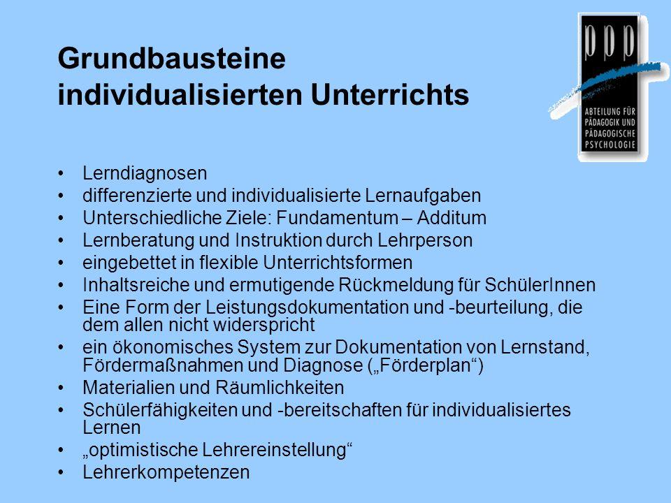 Grundbausteine individualisierten Unterrichts Lerndiagnosen differenzierte und individualisierte Lernaufgaben Unterschiedliche Ziele: Fundamentum – Ad