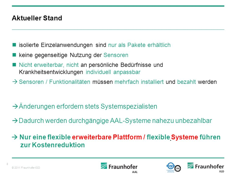 © 2011 Fraunhofer IGD Chancen und Grenzen von Intelligentem Wohnen und AAL 9 Berlin, 24. Juni 2010