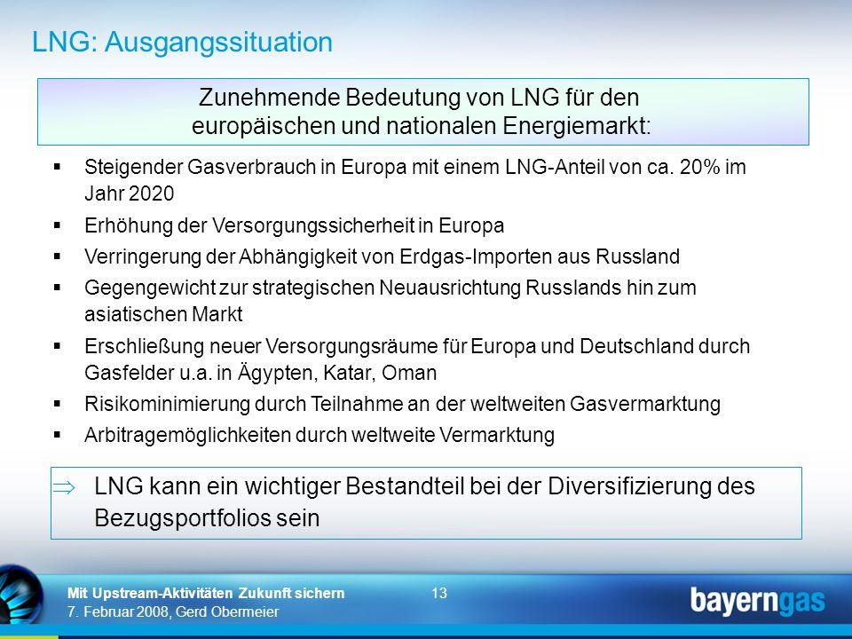 13 7. Februar 2008, Gerd Obermeier Mit Upstream-Aktivitäten Zukunft sichern Steigender Gasverbrauch in Europa mit einem LNG-Anteil von ca. 20% im Jahr