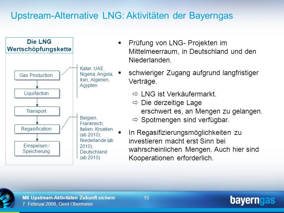 15 7. Februar 2008, Gerd Obermeier Mit Upstream-Aktivitäten Zukunft sichern Gas Production Liquifaction Transport Regasification Einspeisen / Speicher