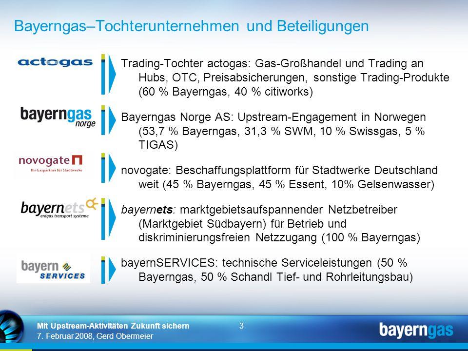 3 7. Februar 2008, Gerd Obermeier Mit Upstream-Aktivitäten Zukunft sichern Trading-Tochter actogas: Gas-Großhandel und Trading an Hubs, OTC, Preisabsi