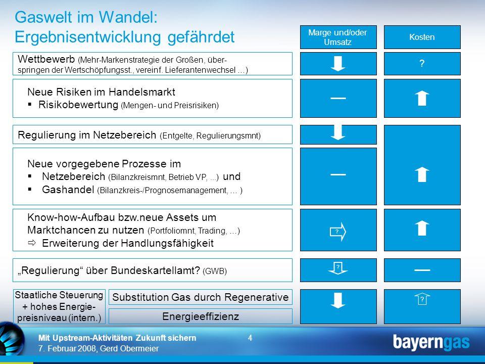 4 7. Februar 2008, Gerd Obermeier Mit Upstream-Aktivitäten Zukunft sichern Gaswelt im Wandel: Ergebnisentwicklung gefährdet Wettbewerb (Mehr-Markenstr