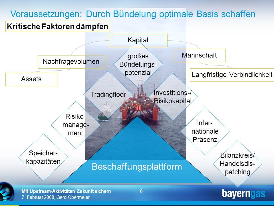 8 7. Februar 2008, Gerd Obermeier Mit Upstream-Aktivitäten Zukunft sichern Beschaffungsplattform Tradingfloor Speicher- kapazitäten Bilanzkreis/ Hande