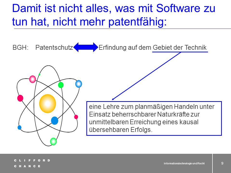 Informationstechnologie und Recht 8 also: Software oder Website patentfähig? § 1 Abs. 2 PatG Als Erfindungen im Sinne des Absatzes 1 werden insbesonde