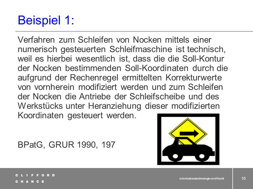 Informationstechnologie und Recht 9 Damit ist nicht alles, was mit Software zu tun hat, nicht mehr patentfähig: BGH: Patentschutz Erfindung auf dem Ge