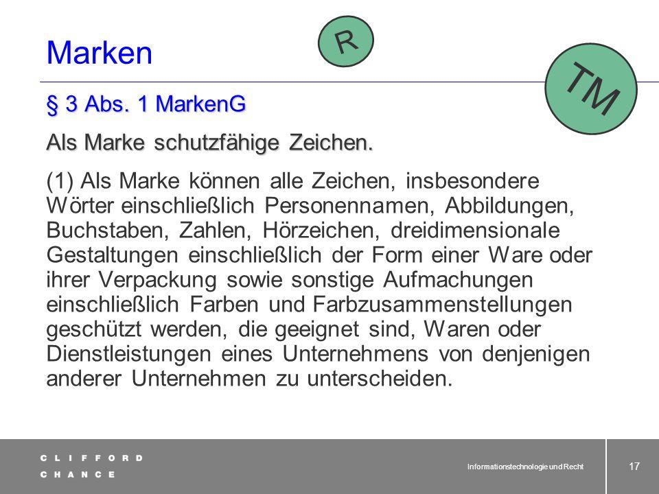 Informationstechnologie und Recht 16 Unterschied zum Patent? Keine Amtsprüfung auf Neuheit oder erfinderische Höhe § 15 Abs. 1 GebrMG: Löschungsanspru