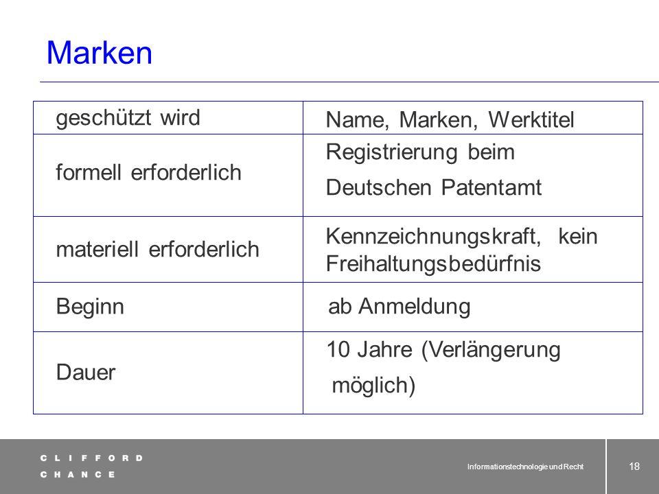 Informationstechnologie und Recht 17 Marken § 3 Abs. 1 MarkenG Als Marke schutzfähige Zeichen. (1) Als Marke können alle Zeichen, insbesondere Wörter
