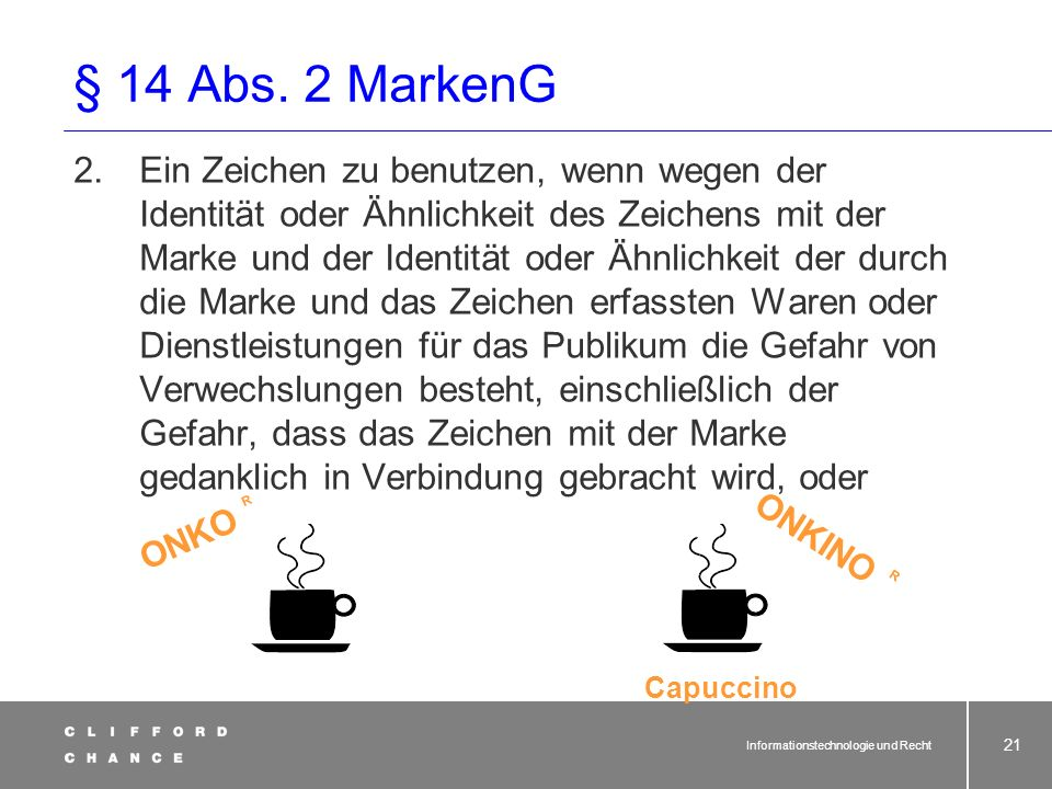 Informationstechnologie und Recht 20 § 14 Abs. 2 MarkenG 2) Dritten ist es untersagt, ohne Zustimmung des Inhabers der Marke im geschäftlichen Verkehr