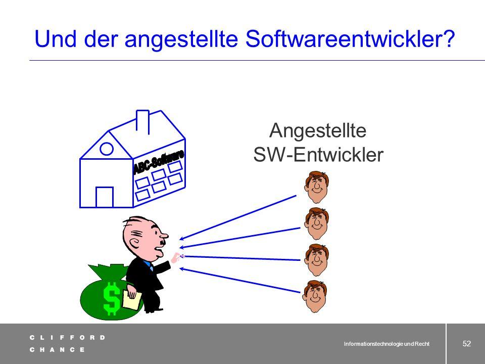 Informationstechnologie und Recht 51 Das heißt: Maximaler Rechteerhalt beim Urheber! Sind bei der Einräumung des Nutzungsrechts die Nutzungsarten, auf