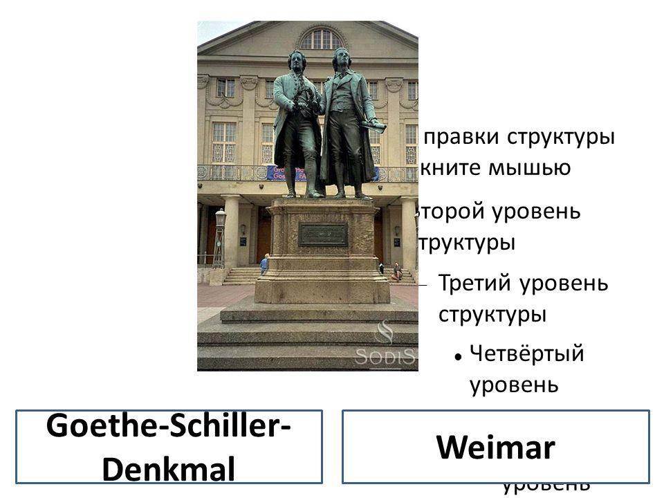 Для правки структуры щелкните мышью Второй уровень структуры Третий уровень структуры Четвёртый уровень структуры Пятый уровень структуры Шестой уровень структуры Седьмой уровень структуры Восьмой уровень структуры Девятый уровень структурыОбразец текста – Второй уровень Третий уровень – Четвертый уровень » Пятый уровень Weimar Goethe-Schiller- Denkmal