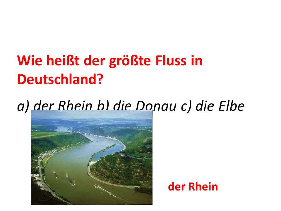 Wie heißt der größte Fluss in Deutschland? a) der Rhein b) die Donau c) die Elbe der Rhein