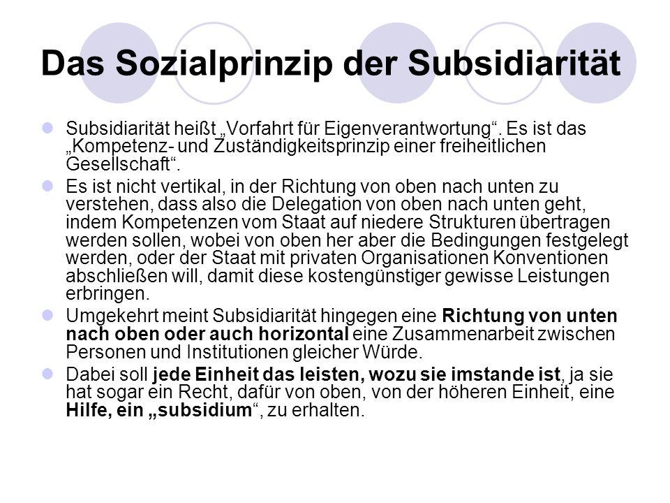 Das Sozialprinzip der Subsidiarität Subsidiarität heißt Vorfahrt für Eigenverantwortung. Es ist das Kompetenz- und Zuständigkeitsprinzip einer freihei