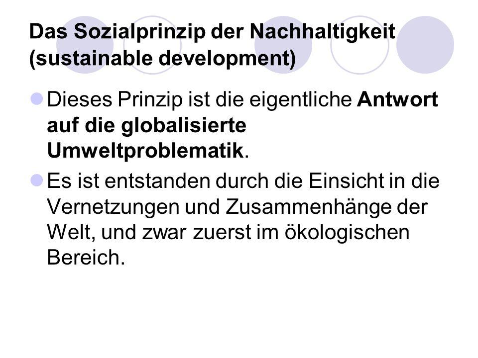 Das Sozialprinzip der Nachhaltigkeit (sustainable development) Dieses Prinzip ist die eigentliche Antwort auf die globalisierte Umweltproblematik. Es