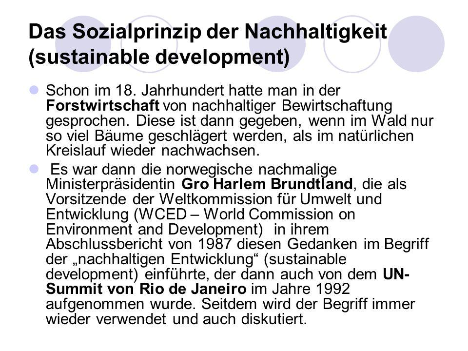 Das Sozialprinzip der Nachhaltigkeit (sustainable development) Schon im 18. Jahrhundert hatte man in der Forstwirtschaft von nachhaltiger Bewirtschaft