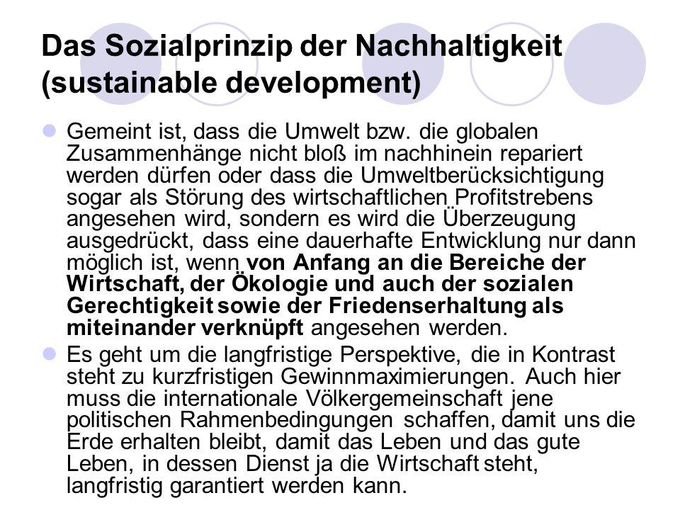 Das Sozialprinzip der Nachhaltigkeit (sustainable development) Gemeint ist, dass die Umwelt bzw. die globalen Zusammenhänge nicht bloß im nachhinein r