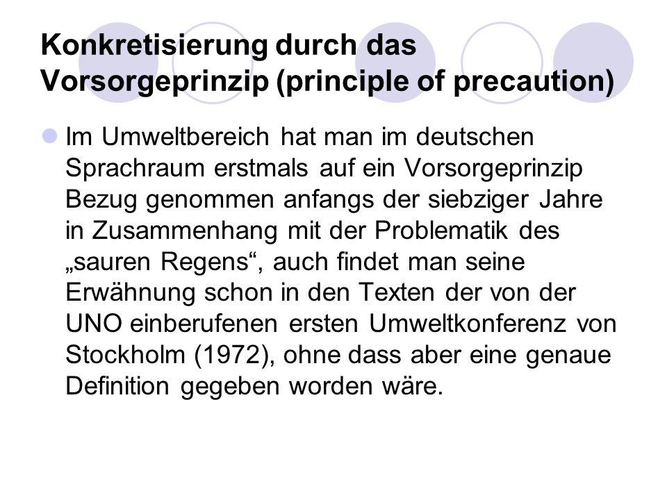 Konkretisierung durch das Vorsorgeprinzip (principle of precaution) Im Umweltbereich hat man im deutschen Sprachraum erstmals auf ein Vorsorgeprinzip