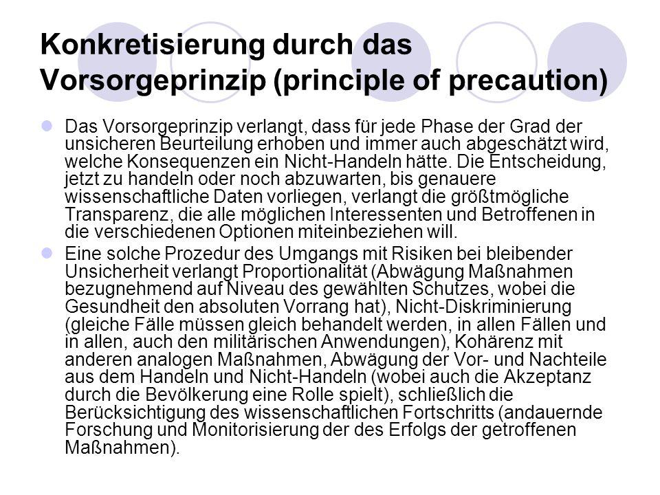 Konkretisierung durch das Vorsorgeprinzip (principle of precaution) Das Vorsorgeprinzip verlangt, dass für jede Phase der Grad der unsicheren Beurteil