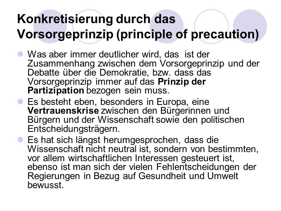 Konkretisierung durch das Vorsorgeprinzip (principle of precaution) Was aber immer deutlicher wird, das ist der Zusammenhang zwischen dem Vorsorgeprin