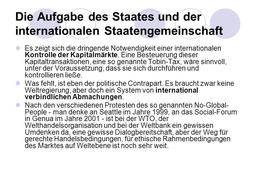 Die Aufgabe des Staates und der internationalen Staatengemeinschaft Es zeigt sich die dringende Notwendigkeit einer internationalen Kontrolle der Kapi