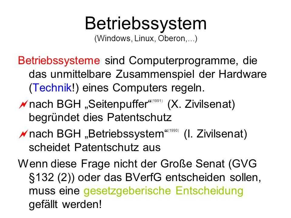 Betriebssystem (Windows, Linux, Oberon,...) Betriebssysteme sind Computerprogramme, die das unmittelbare Zusammenspiel der Hardware (Technik!) eines C