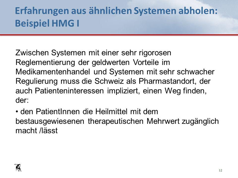Erfahrungen aus ähnlichen Systemen abholen: Beispiel HMG I Zwischen Systemen mit einer sehr rigorosen Reglementierung der geldwerten Vorteile im Medikamentenhandel und Systemen mit sehr schwacher Regulierung muss die Schweiz als Pharmastandort, der auch Patienteninteressen impliziert, einen Weg finden, der: den PatientInnen die Heilmittel mit dem bestausgewiesenen therapeutischen Mehrwert zugänglich macht /lässt 12