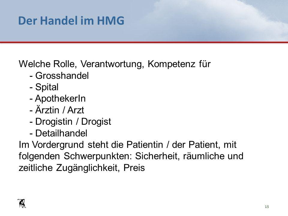 Der Handel im HMG Welche Rolle, Verantwortung, Kompetenz für - Grosshandel - Spital - ApothekerIn - Ärztin / Arzt - Drogistin / Drogist - Detailhandel Im Vordergrund steht die Patientin / der Patient, mit folgenden Schwerpunkten: Sicherheit, räumliche und zeitliche Zugänglichkeit, Preis 15