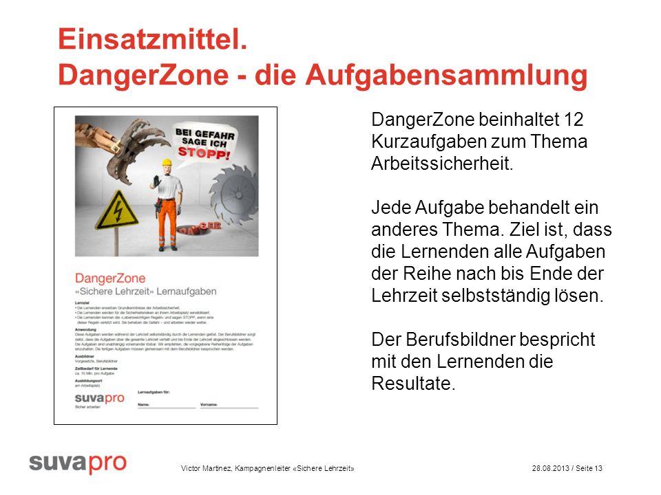 Victor Martinez, Kampagnenleiter «Sichere Lehrzeit» 28.08.2013 / Seite 13 Einsatzmittel.