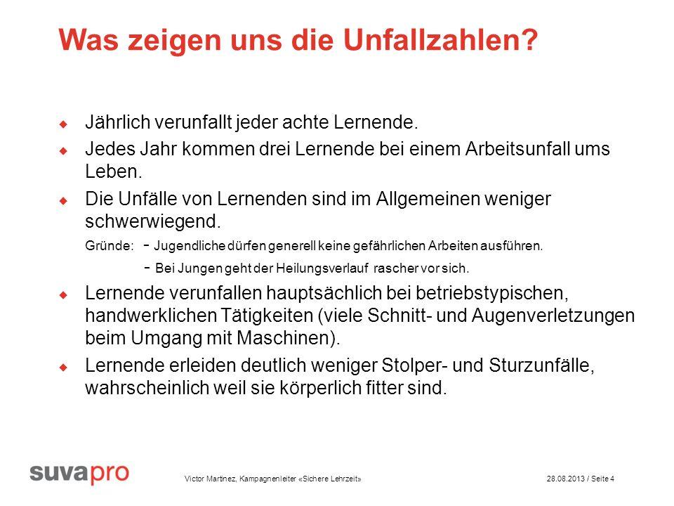 Victor Martinez, Kampagnenleiter «Sichere Lehrzeit» 28.08.2013 / Seite 4 Was zeigen uns die Unfallzahlen.