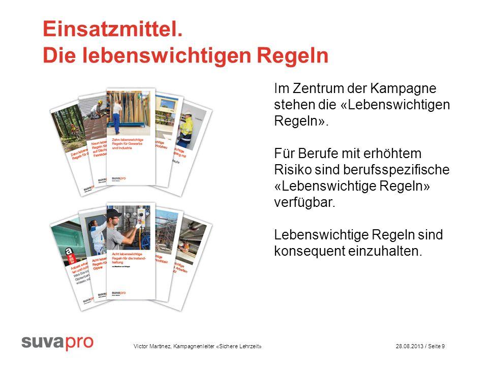 Victor Martinez, Kampagnenleiter «Sichere Lehrzeit» 28.08.2013 / Seite 9 Einsatzmittel.
