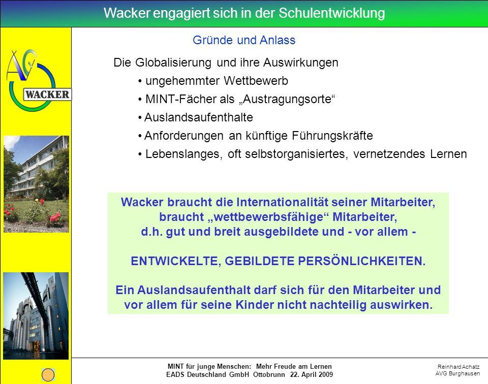 Reinhard Achatz AVG Burghausen MINT für junge Menschen: Mehr Freude am Lernen EADS Deutschland GmbH Ottobrunn 22. April 2009 Wacker braucht die Intern