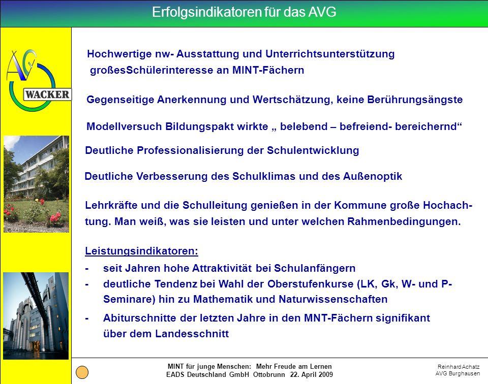 Reinhard Achatz AVG Burghausen MINT für junge Menschen: Mehr Freude am Lernen EADS Deutschland GmbH Ottobrunn 22. April 2009 Erfolgsindikatoren für da