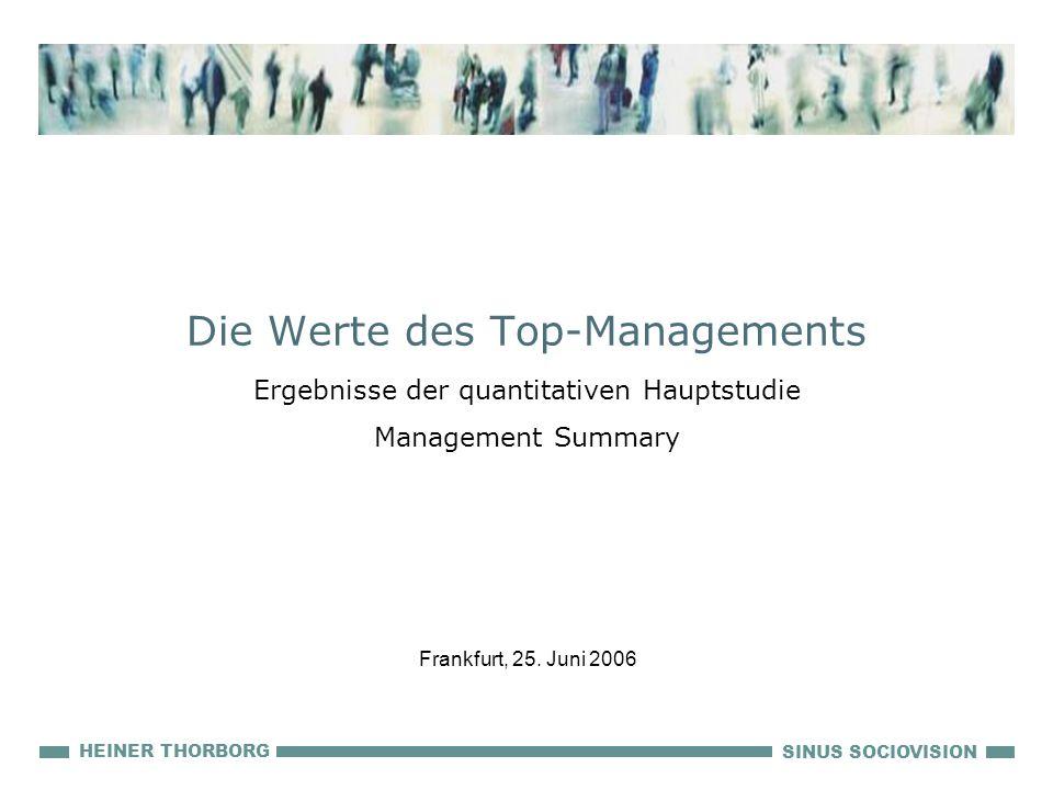 SINUS SOCIOVISION HEINER THORBORG Die Werte des Top-Managements Ergebnisse der quantitativen Hauptstudie Management Summary Frankfurt, 25. Juni 2006