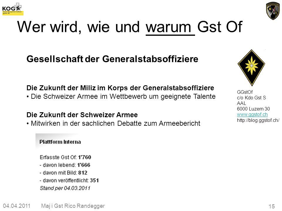 04.04.2011Maj i Gst Rico Randegger 15 GGstOf c/o Kdo Gst S AAL 6000 Luzern 30 www.ggstof.ch http://blog.ggstof.ch/ Gesellschaft der Generalstabsoffizi