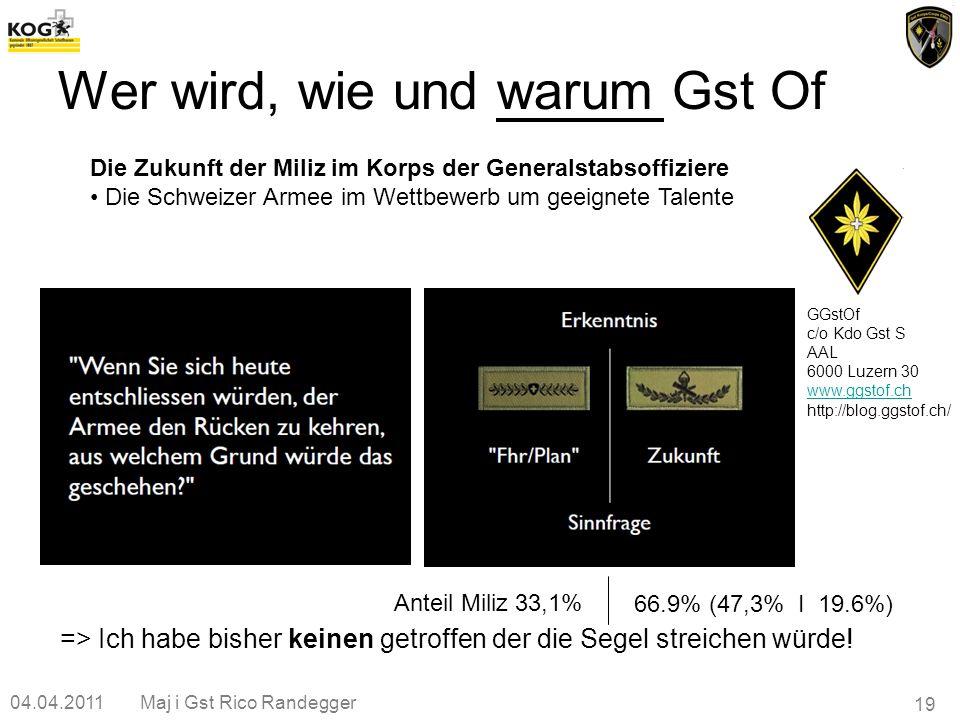04.04.2011Maj i Gst Rico Randegger 19 Wer wird, wie und warum Gst Of GGstOf c/o Kdo Gst S AAL 6000 Luzern 30 www.ggstof.ch http://blog.ggstof.ch/ Die