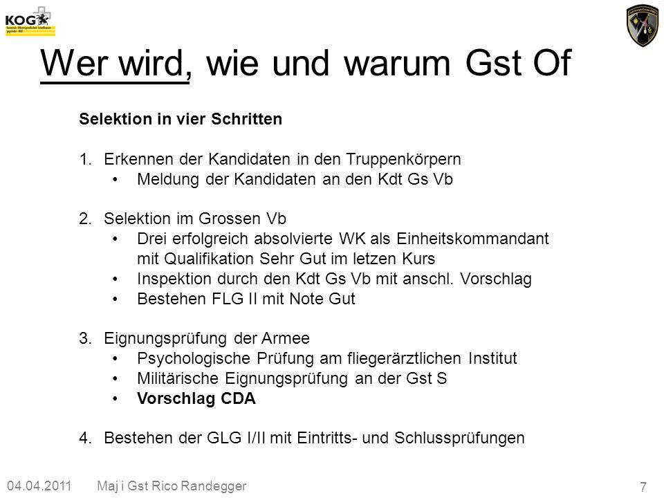 04.04.2011Maj i Gst Rico Randegger 7 Wer wird, wie und warum Gst Of Selektion in vier Schritten 1.Erkennen der Kandidaten in den Truppenkörpern Meldun