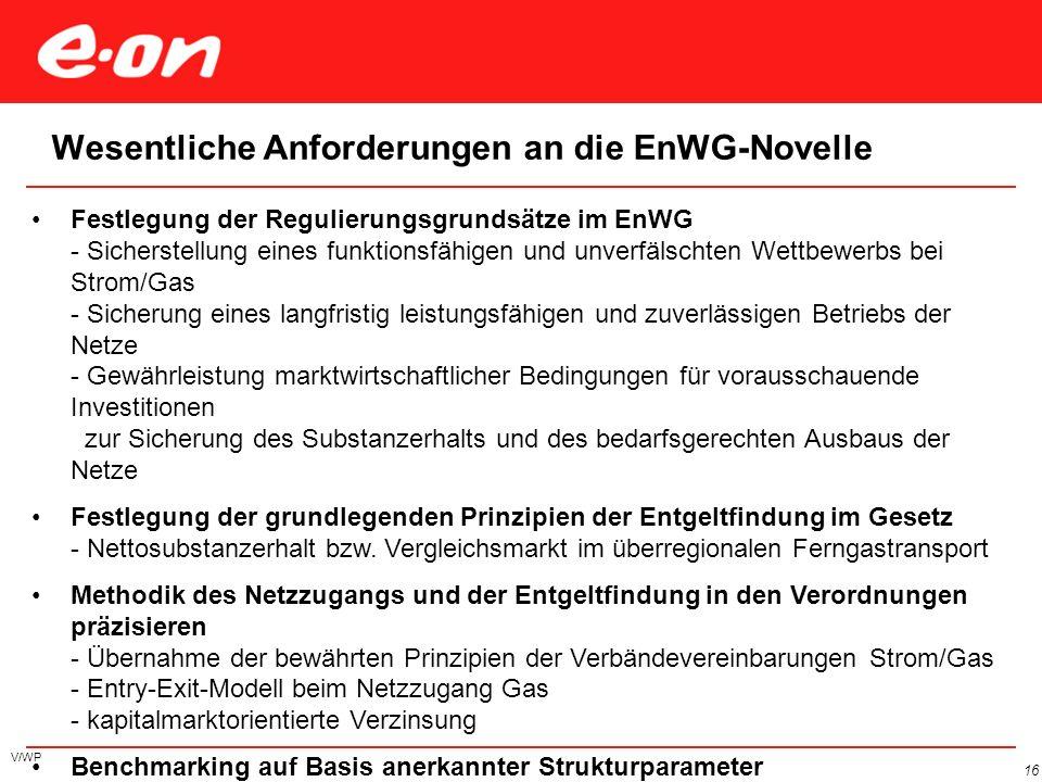 V/WP 16 Wesentliche Anforderungen an die EnWG-Novelle Festlegung der Regulierungsgrundsätze im EnWG - Sicherstellung eines funktionsfähigen und unverf
