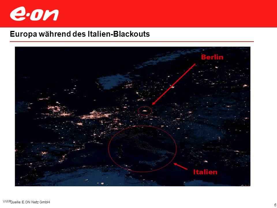 V/WP 6 Quelle: E.ON Netz GmbH Europa während des Italien-Blackouts