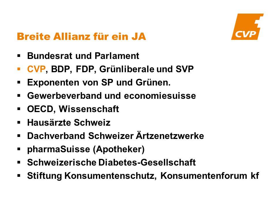 Bundesrat und Parlament CVP, BDP, FDP, Grünliberale und SVP Exponenten von SP und Grünen. Gewerbeverband und economiesuisse OECD, Wissenschaft Hausärz
